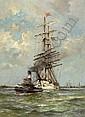 Jan van de Linde Amsterdam 1864 - 1945 Driemaster, Johan