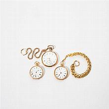 Two antique 18 carat gold gentleman's pocket watches, one antique 14 carat gold pocket watch, two antique 14 carat gold watch chains