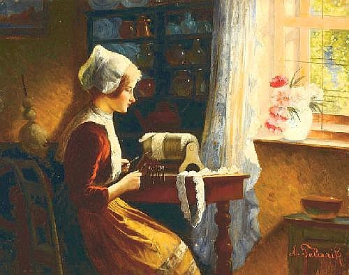 Alois Telarik Vienna 1884 - 1961 A girl making