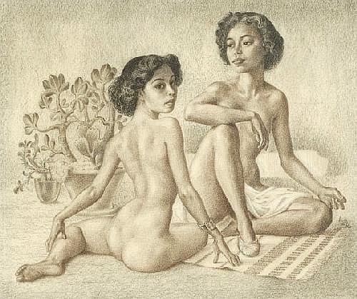 Huib de Ru Utrecht 1902 - Haarlem 1980 Two naked