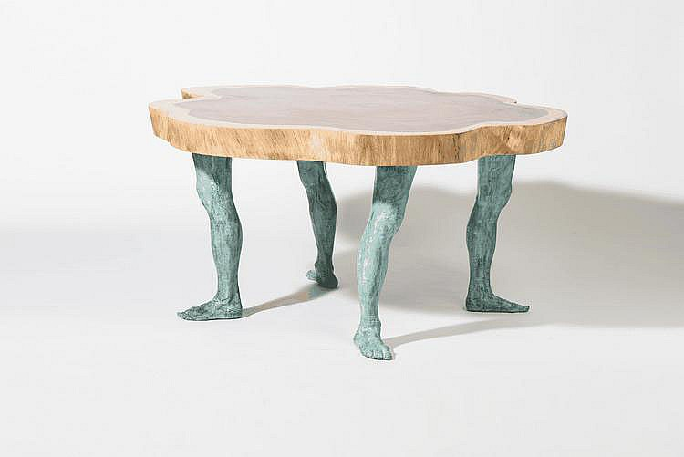 A table (Designed by Pim Lenos, Schiedam 1945, Brasilian hardwood, green patinated bronze)