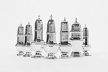 Seven silver sugar casters