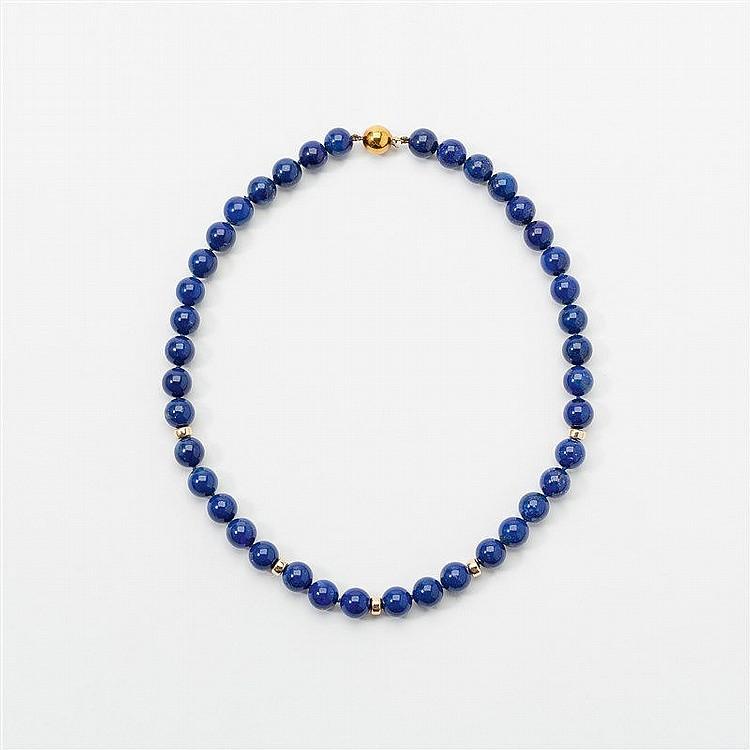 a lapis lazuli and 14 carat gold necklace