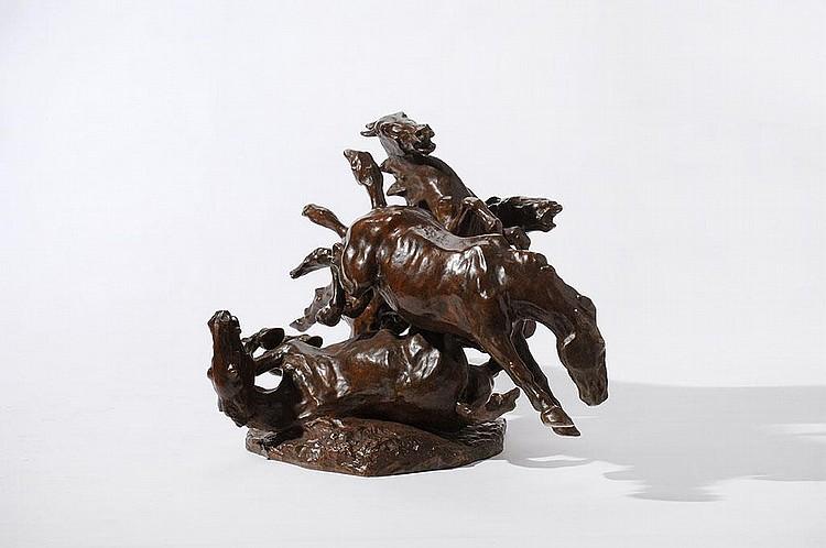 Een bronzen sculptuur 'Vier paarden' Albert Hager