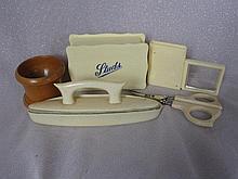 Vintage Xylonite nail buffer, stud case,