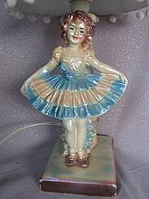 Plaster 1940s lamp stand with pearlised painted