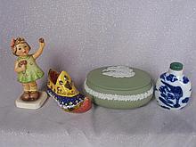 Mixed Ornaments:- Delft Perfume bottle, Coalport