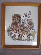 All original framed Brownie Downing print 22cm X