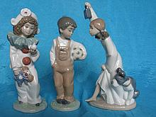 Three NAO Llardo figurines:- Soccer Boy 20cm &