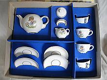 Boxed 1950s 12 piece GDR china Tea Set, girl with