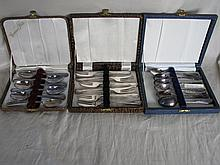 Five boxed 1950s silverware sets