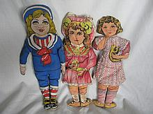Three vintage 36-43cm cotton print cloth dolls AND