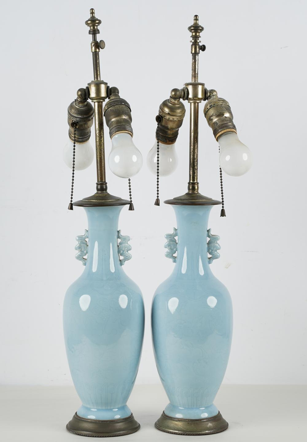 PAIR OF CHINESE PALE BLUE PORCELAIN VASES