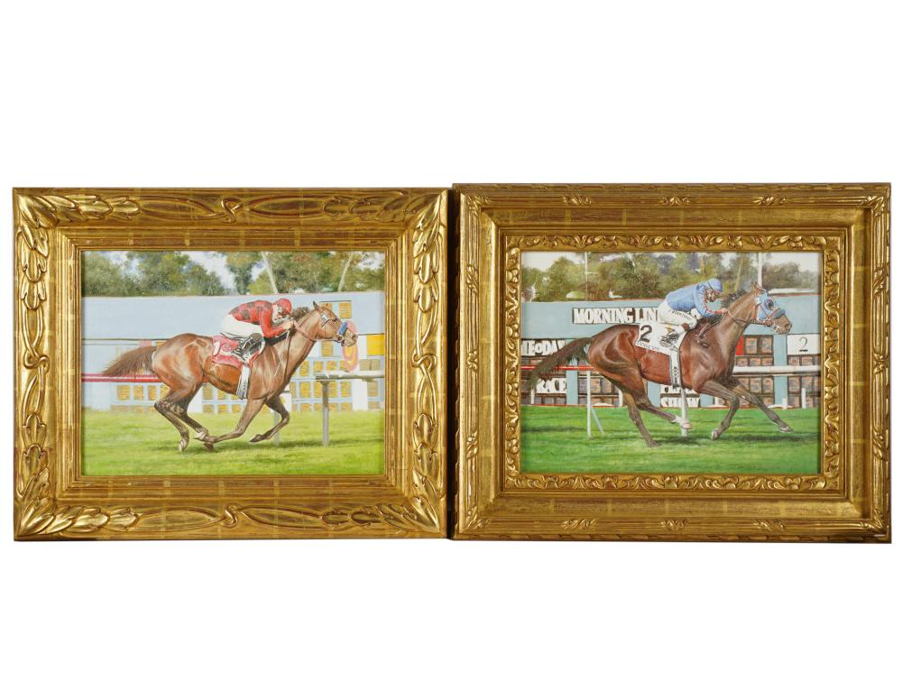 UNKNOWN ARTIST: TWO RACEHORSE PORTRAITS