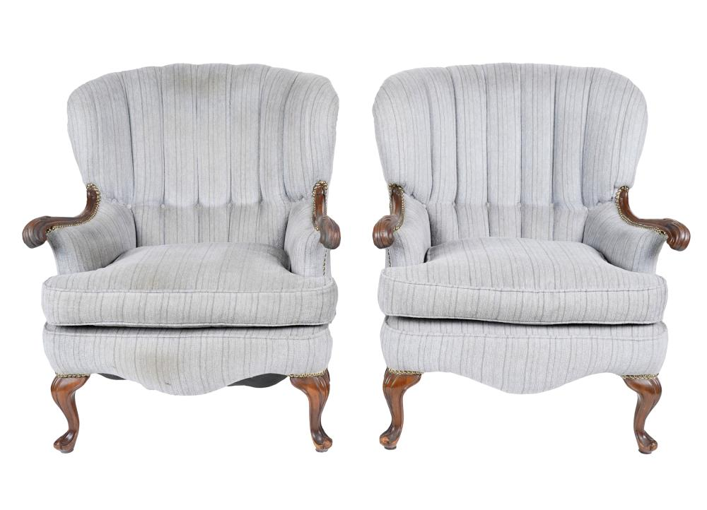 PAIR OF CARVED WING CHAIRS