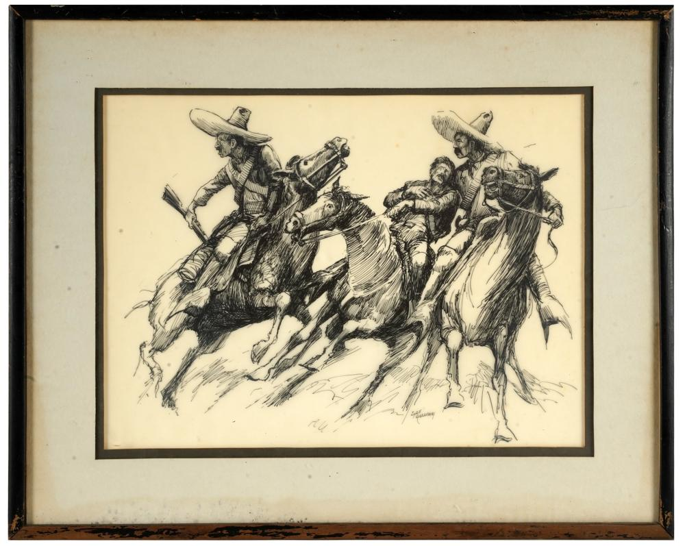 LYLE GALLOWAY (1930 - 1984): THREE MEN ON HORSEBACK