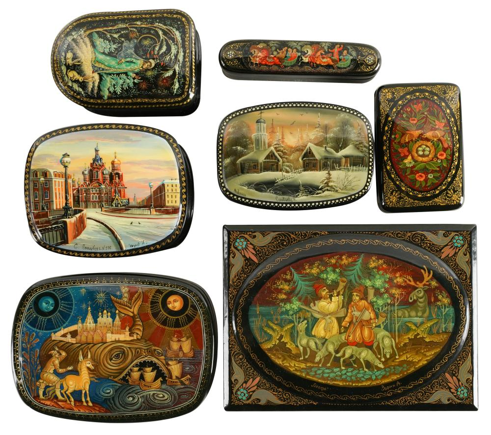 COLLECTION OF RUSSIAN LACQUERED BOXES