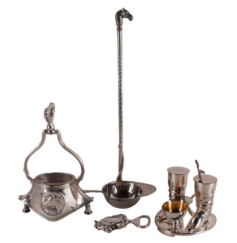 GROUP OF SILVERPLATE HORSE RACING THEME TABLE ARTICLES