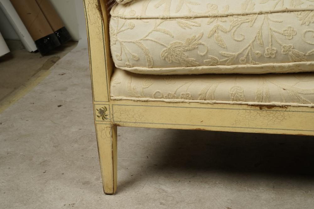 PAIR OF NEOCLASSIC PAINTED WOOD & CANE SETTEES