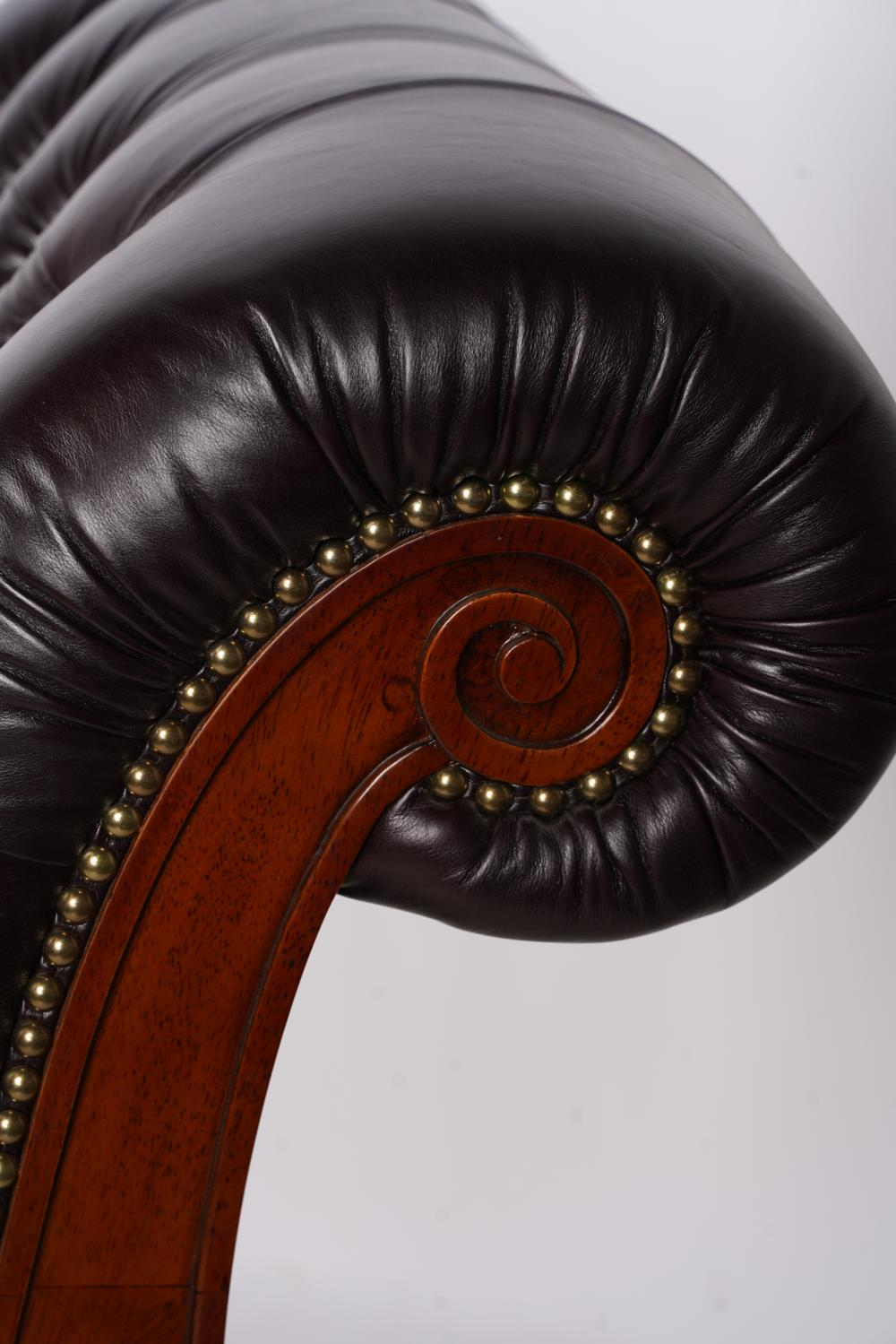 REGENCY STYLE BROWN LEATHER CHAISE LOUNGE