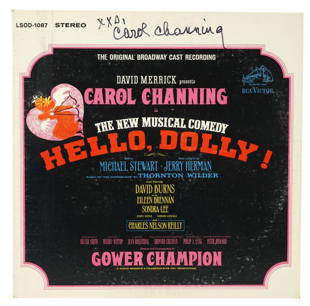 CAROL CHANNING SIGNED 'HELLO, DOLLY!' CAST ALBUM JACKET