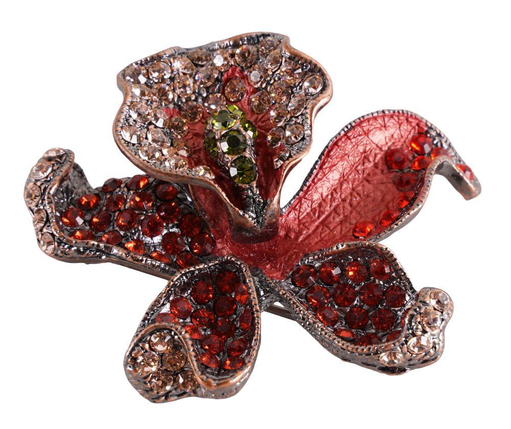 CAROL CHANNING RED ORCHID RHINESTONE BROOCH
