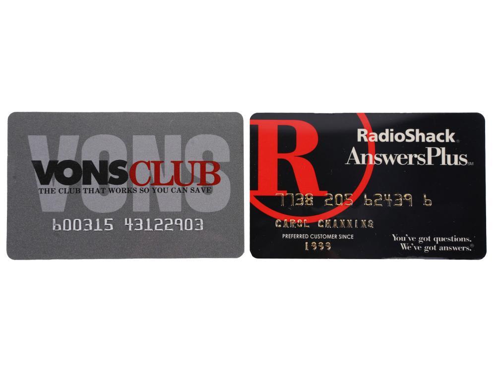 CAROL CHANNING SIGNED VONS CLUB CARD & RADIO SHACK CARD