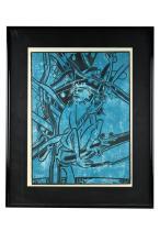 """FRANCOISE GILOT (B. 1921): """"MONKEY IN BLUE"""""""