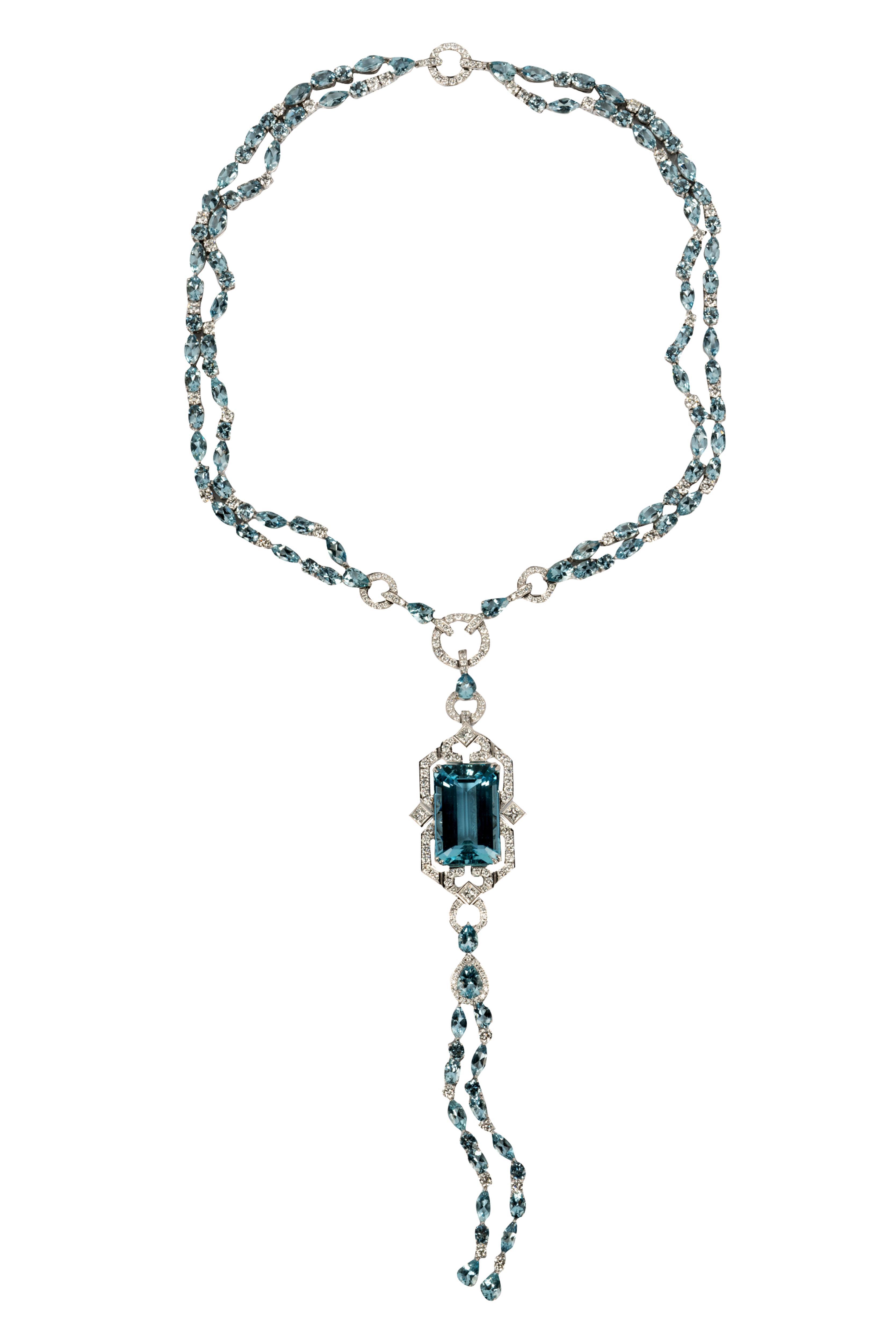 ART DECO STYLE 18 KARAT WHITE GOLD, DIAMOND, & AQUAMARINE NECKLACE