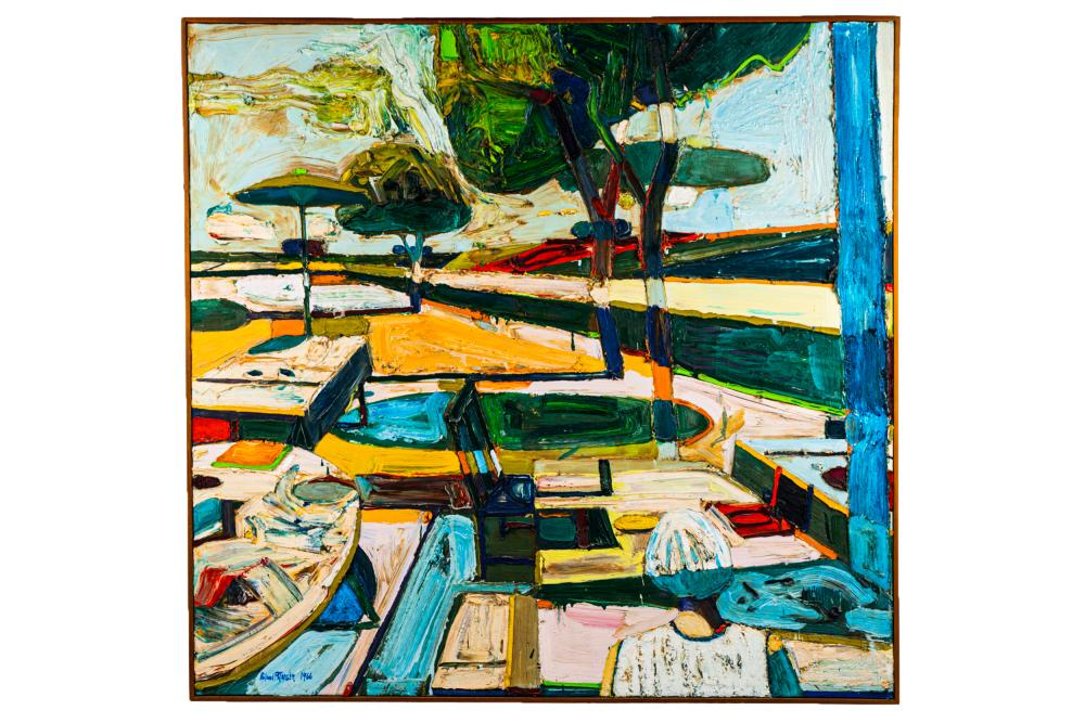 """ROLAND PETERSEN (B. 1926): """"PICNIC WITH A ROW OF TREES"""""""