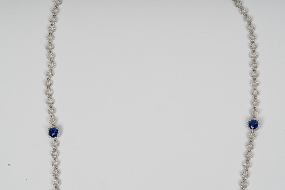 18 KARAT WHITE GOLD, DIAMOND, & SAPPHIRE STATION NECKLACE