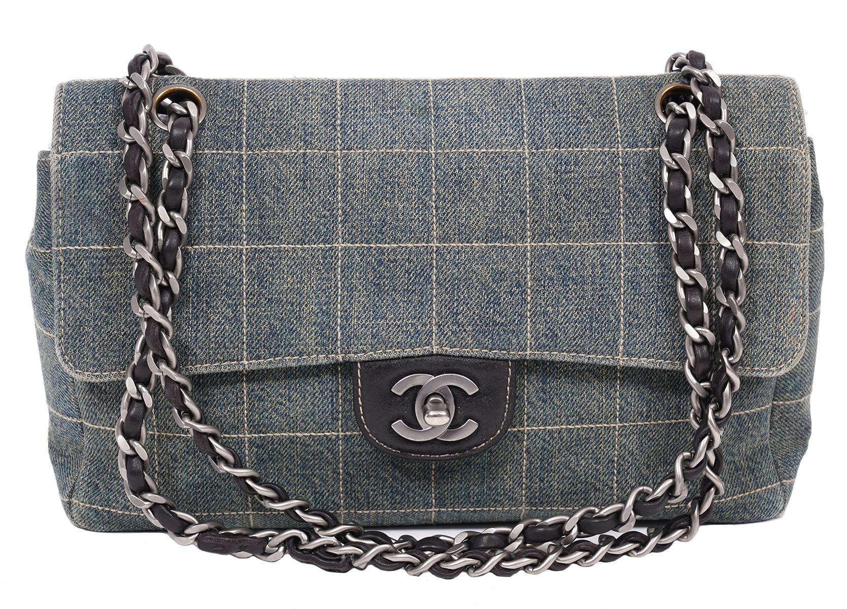 Vintage Chanel Denim Medium Classic 2000