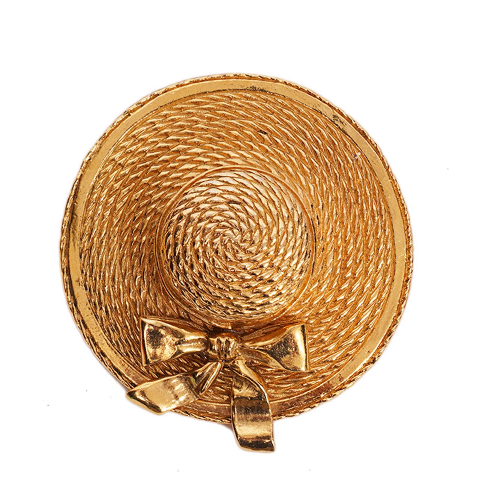 Chanel Vintage Gold Tone Hat Brooch 1970's