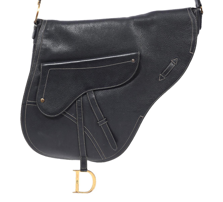 Christian Dior Large Black Crossbody Saddle Bag