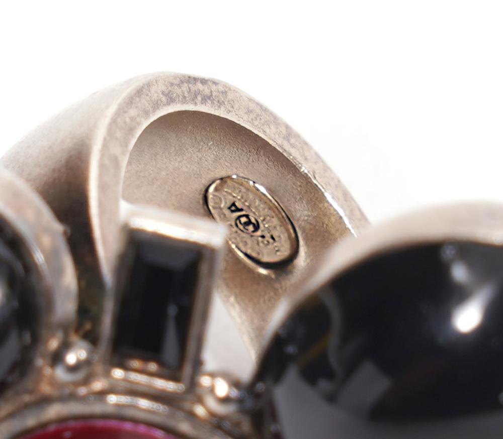 Chanel Poured Glass Enamel & Silver CC Ring Sz 6