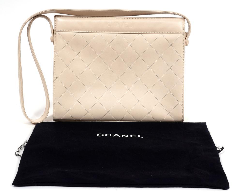 Chanel Vintage Beige Quilted Shoulder Bag 1997