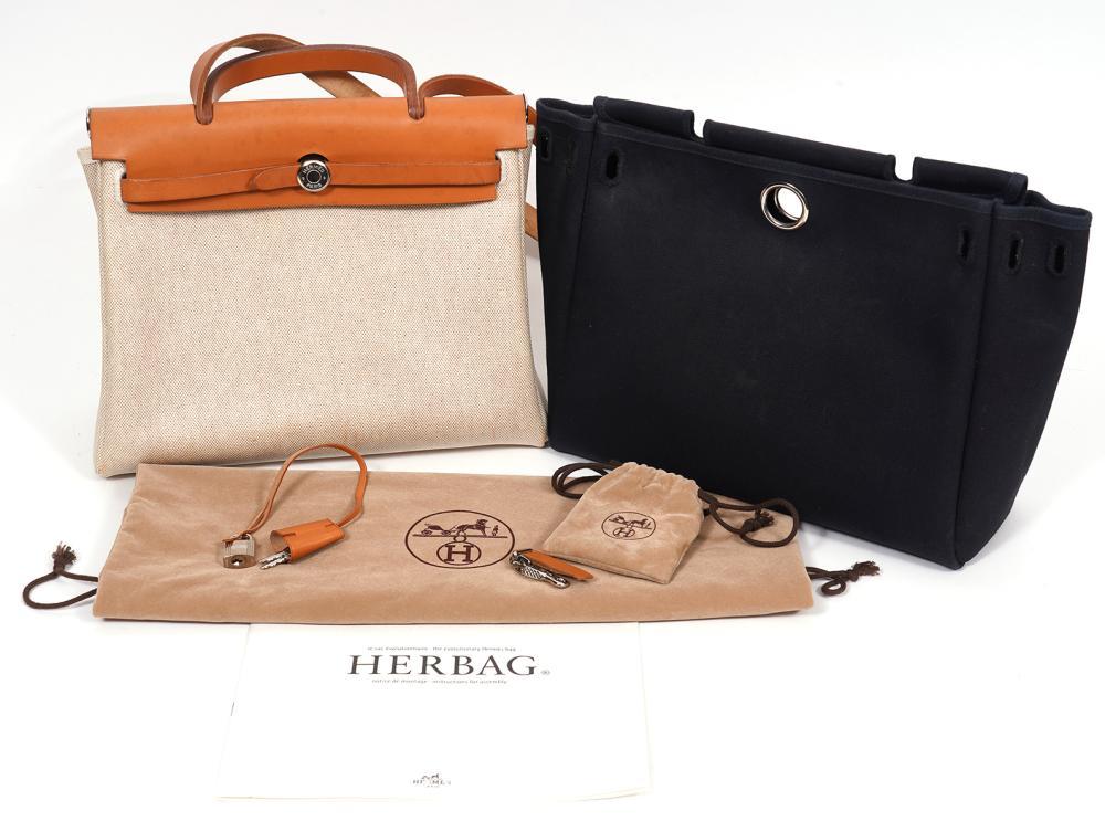 Hermes Beige Toile Herbag MM 2000