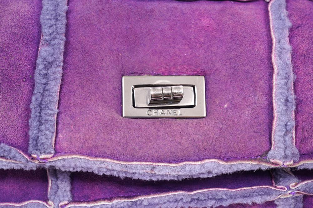 Chanel Purple Suede Sheepskin Patchwork Bag 2000