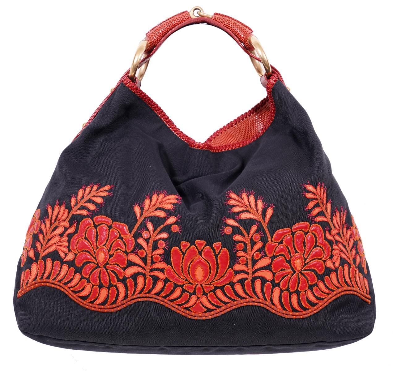Gucci Runway Tote Red Snakeskin Applique Bag