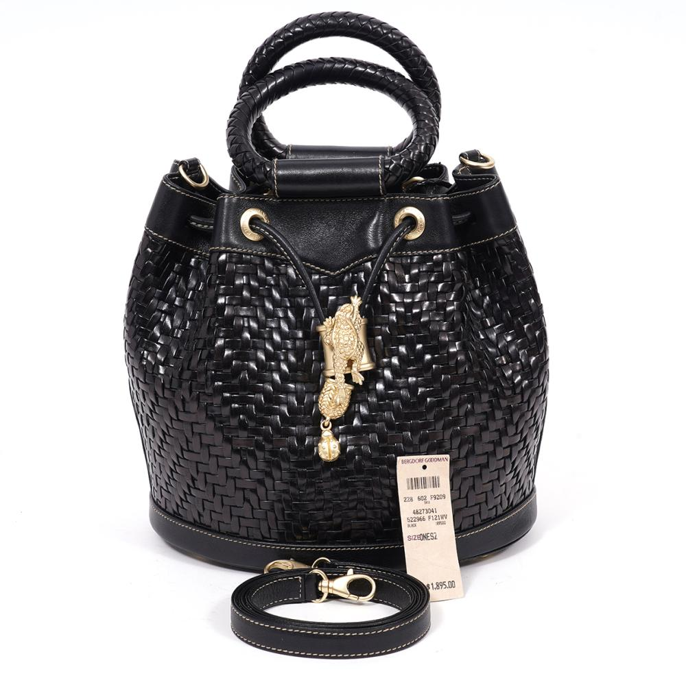 Keiselstein Cord Black Leather Bucket Bag