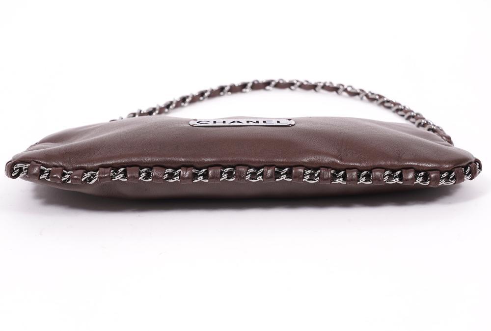 Chanel Brown Lambskin Hand Bag Silver Chain 2004