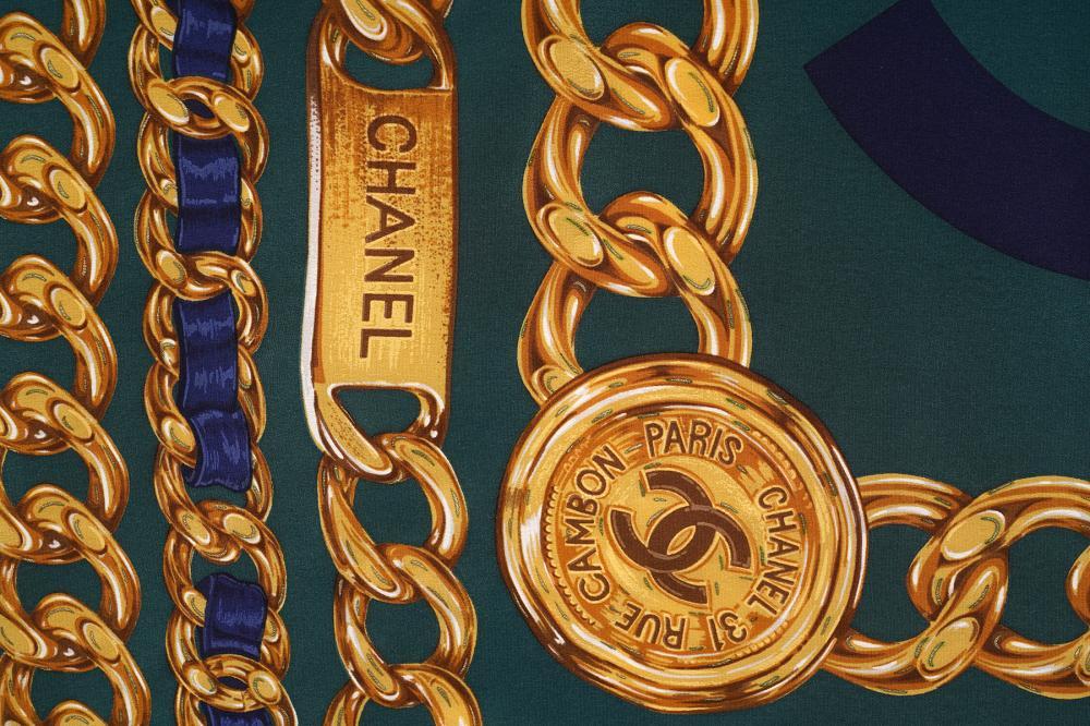 "Chanel Silk Scarf Chain Belt & CC Design 34"""