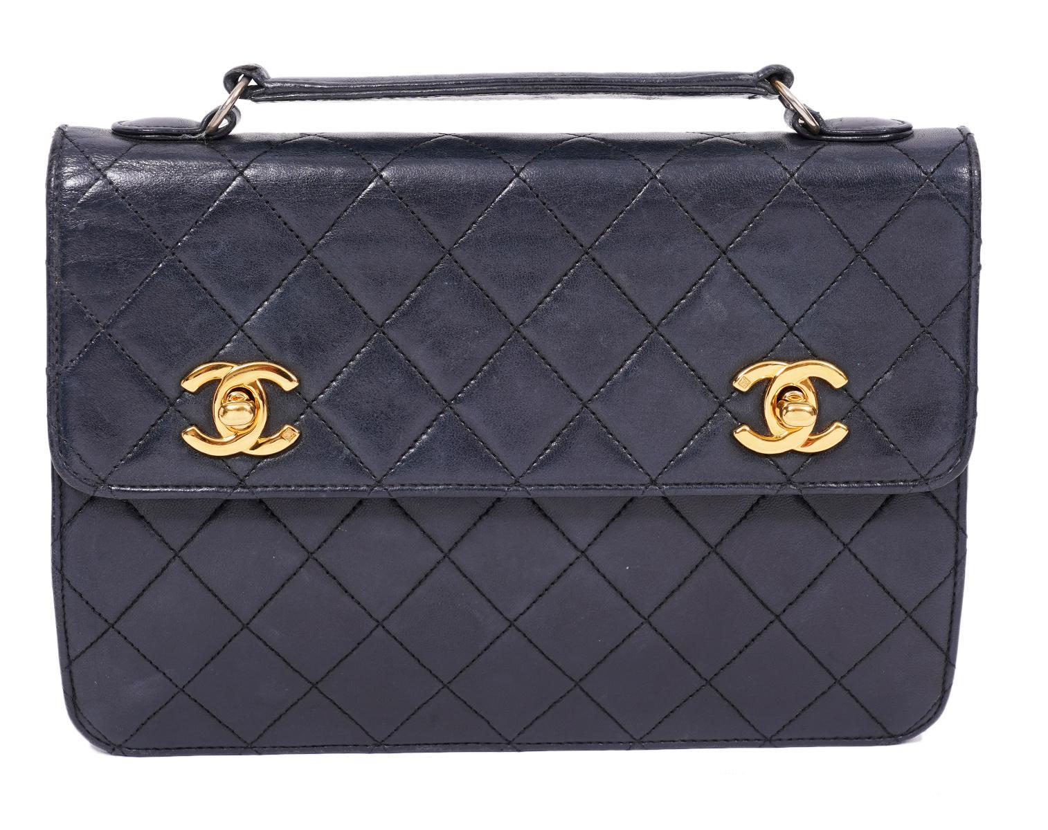 Chanel Vintage Navy Flap Double CC Shoulder Bag