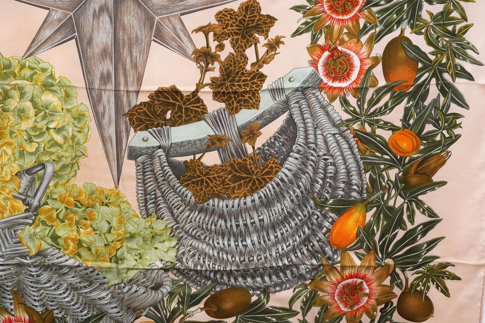 Hermes Peach Passiflores Silk Scarf 90cm