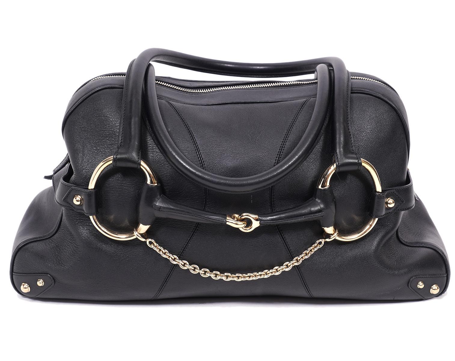 Gucci Large Black Horse Bit Shoulder Bag