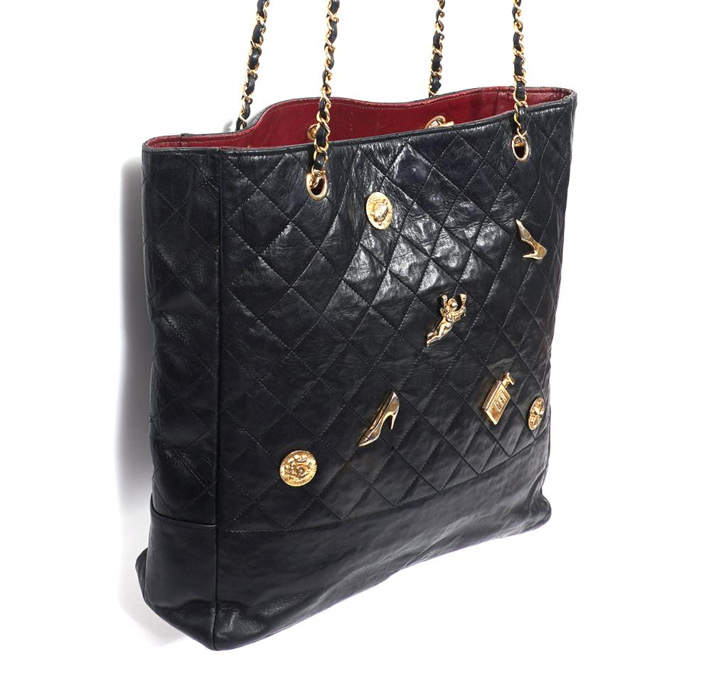 Chanel Black Vintage Quilted Tote & Charms
