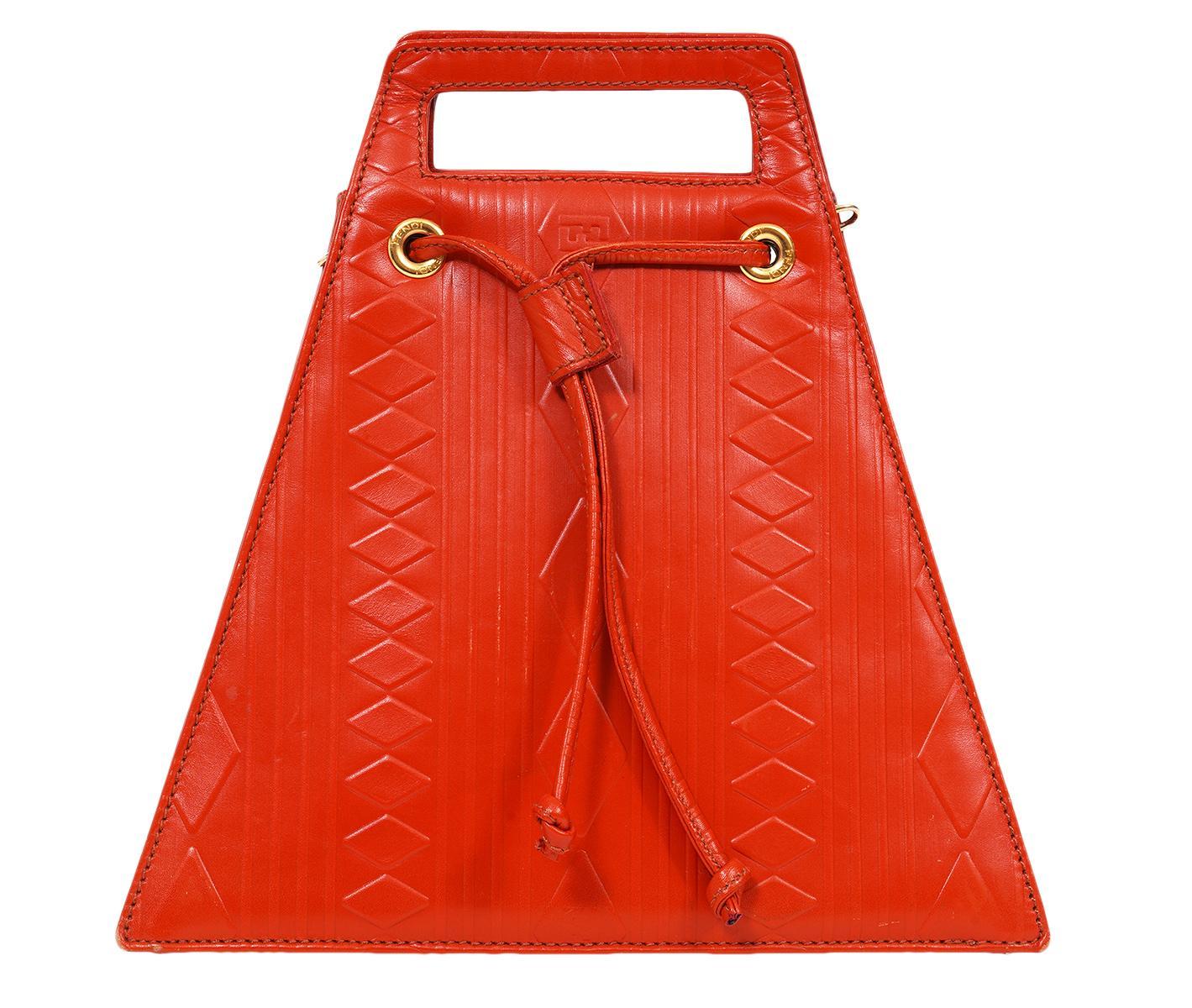 Fendi Vintage Orange Leather Embossed Shoulder Bag