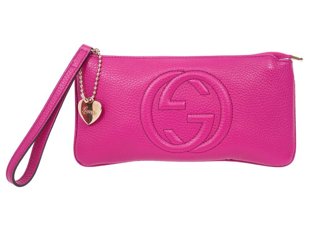 Gucci Soho Fuchsia Wristlet Zipper Pouch Wallet