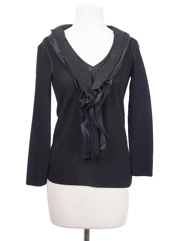 Giorgio Armani Black Knit Top Silk Ruffles Size S