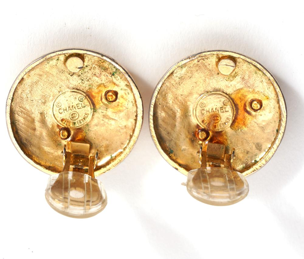 Chanel Vintage 1970's CC Disc Clip On Earrings